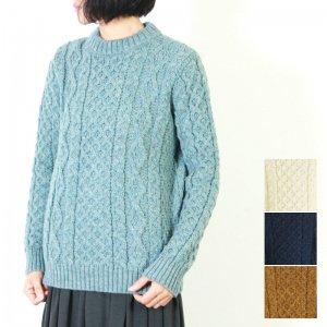 Kerry Woollen Mills (ケリーウーレンミルズ) Aran Cable Crew Neck Sweater LITE #WOMEN / アランケーブルクルーネックセーター