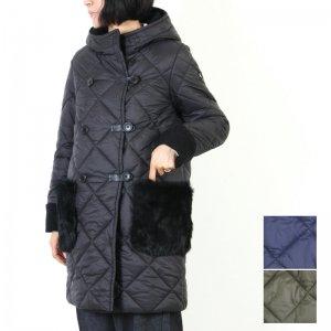 blanc basque (ブランバスク) ナイロンキルト×ファーポケットコート