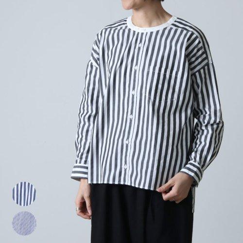 UNIVERSAL TISSU (ユニバーサルティシュ) ストライプバンドカラーワーキングシャツ