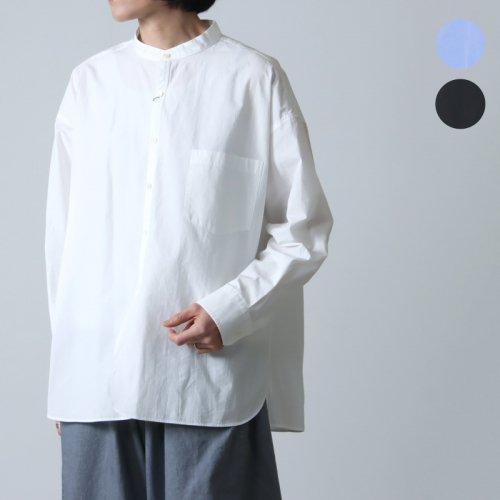 TICCA (ティッカ) ノーカラーシャツ Five line stripe