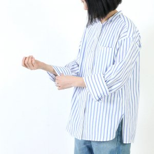 [THANK SOLD] TICCA (ティッカ) ノーカラーシャツ White loop stripe