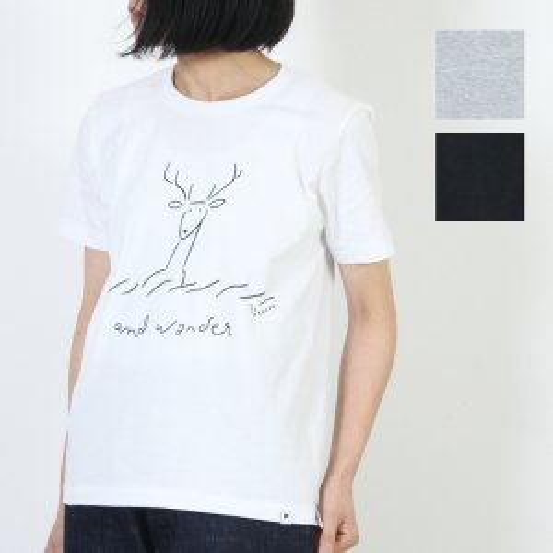 and wander (アンドワンダー) deer printed T by Yu nagaba For Women size:00 / ディアプリントTシャツ レディースサイズ