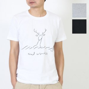 and wander (アンドワンダー) deer printed T by Yu nagaba For Men / ディアプリントTシャツ メンズサイズ