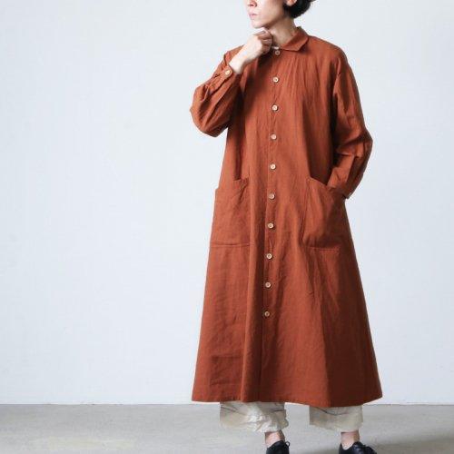 YAECA (ヤエカ) WRITE WORK SHIRT DRESS wood-dyed / ライトワークシャツドレスウッドダイ