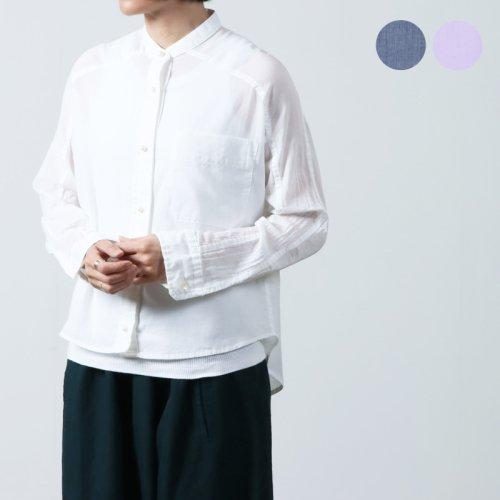 blanc basque (ブランバスク) ニットリブ 布帛プルオーバーシャツ