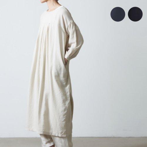 evameva (エヴァムエヴァ) Cotton silk gather one piece / コットンシルク ギャザー ワンピース