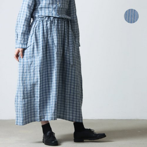 Vlas blomme (ヴラスブラム) Rainストライプ タックギャザースカート