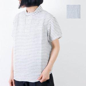 LOLO (ロロ) 定番プルオーバー型 半袖リネンボーダーシャツ size:S