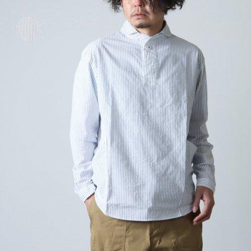LOLO (ロロ) 定番プルオーバー型 半袖リネンボーダーシャツ