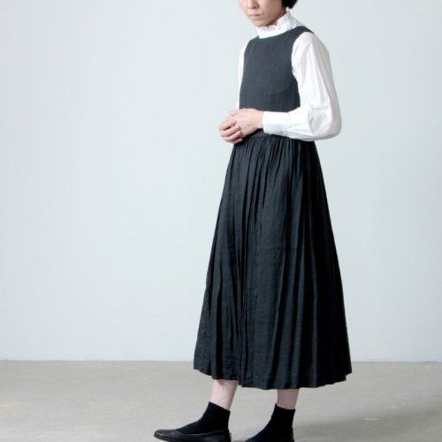 YAECA (ヤエカ) WRITE LINEN TUCK ONEPIECE / ライト リネン タック ワンピース