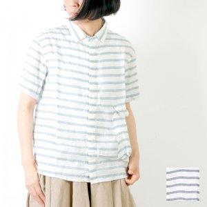 LOLO (ロロ) 麻×リヨセル 半袖ボーダー bag シャツ / Women