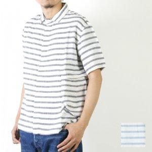 LOLO (ロロ) 麻×リヨセル 半袖ボーダー bag シャツ / Men