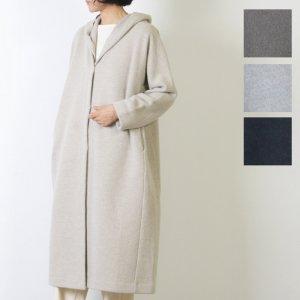 evameva (エヴァムエヴァ) Press wool fooded coat / プレスウール フーデットコート