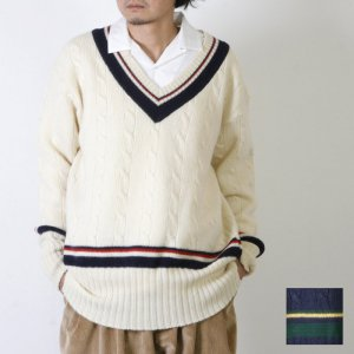 [THANK SOLD] is-ness (イズネス) ZAKKURI TILDEN KNITTED SWEATER / ザックリチルデンニットセーター