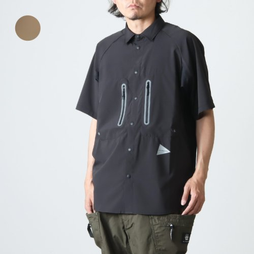 and wander (アンドワンダー) laser hole over dry short sleeve shirt for man / レーザーホールオーバードライショートスリーブシャツ メンズ