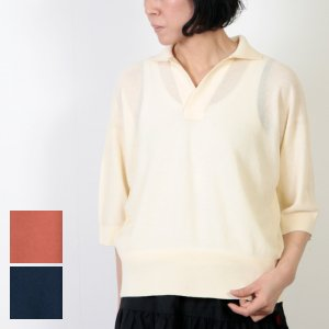 unfil (アンフィル) dry touch cotton pique knit skipper top / ドライタッチコットンピケニットスキッパートップ
