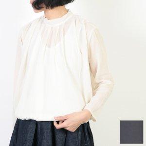 evameva (エヴァムエヴァ) Stand collar tuck shirt / スタンドカラータックシャツ