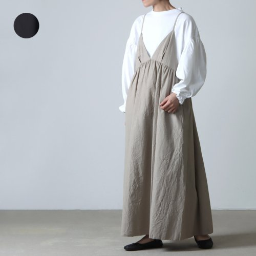 unfil (アンフィル) washed egyptian cotton twill sleeveless shirt dress / スリーブレスシャツドレス