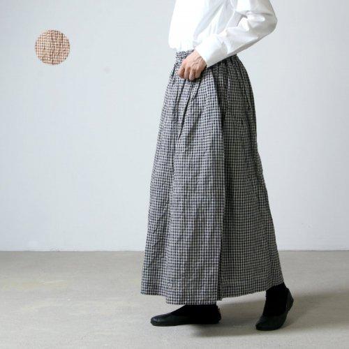 ICHI Antiquites (イチアンティークス) コットンリネンボイルワッシャーギャザースカート