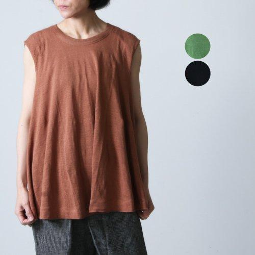 [THANK SOLD] unfil (アンフィル) french linen jersey sleeveless A line top / フレンチリネンジャージースリーブレスエーライントップ