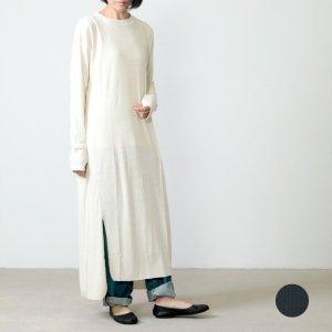 unfil (アンフィル) raw silk ribbed jersey T shirt dress / ローシルクリブベッドジャージシャツドレス