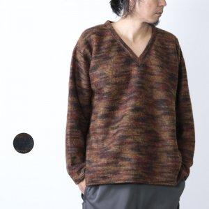 South2 West8 (サウスツーウエストエイト) Side Slit V Neck Shirt - Pe/Ac/W Shaggy Knit / サイドスリットVネックシャツ シャギーニット