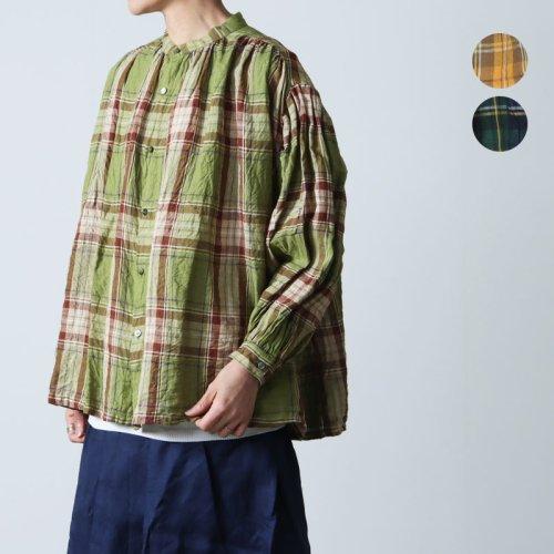 ICHI Antiquites (イチアンティークス) リネンタータンチェックギャザーシャツ