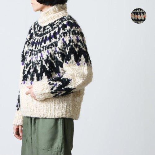 unfil (アンフィル) cashmere blend hand knit sweater / カシミアブレンドハンドニットセーター