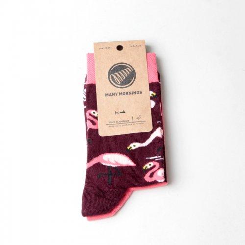 MANY MORNINGS (メニーモーニングス) Regular Socks Pink Flamingo / レギュラーソックス ピンク・フラミンゴ