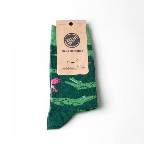 MANY MORNINGS (メニーモーニングス) Regular Socks Forfitter / レギュラーソックス ワニ