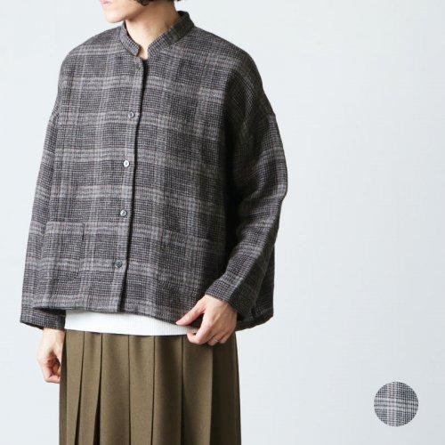 mizuiro ind (ミズイロインド) check stand colloar short shirt / チェックスタンドカラーショートシャツ