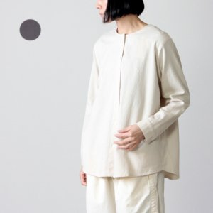 evameva (エヴァムエヴァ) cotton wool nocollar shirt / コットンウールノーカラーシャツ