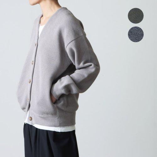 crepuscule (クレプスキュール) border moss stitch V/N cardigan for woman / ボーダーモススティッチVネックカーディガン レディースサイズ
