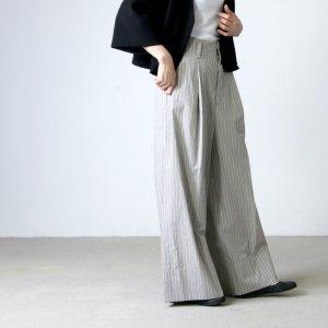 unfil (アンフィル) striped cotton snd silkpoplin wide leg trousers / コットンシルクポプリンワイドレッグトラウサース