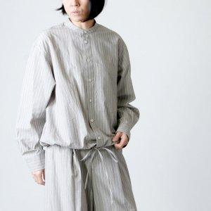 unfil (アンフィル) striped cotton snd silkpoplin drawstring shirt / ストライプコットンシルクポプリンドローストリングシャツ