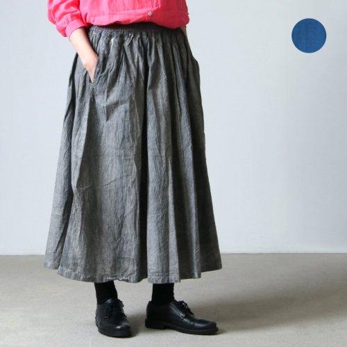 ICHI Antiquites (イチアンティークス) ステッチストライプ ハンドダイ ギャザースカート