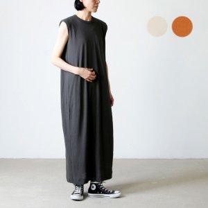 unfil (アンフィル) recycle cotton jersey padded sholder dress / リサイクルコットンジャージーノースリーブドレス