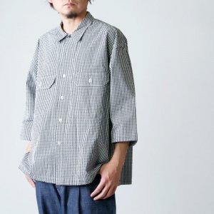 unfil (アンフィル) washed cotton gingham open collar work shirt / ウォッシュドコットンギンガムオープンカラーワークシャツ