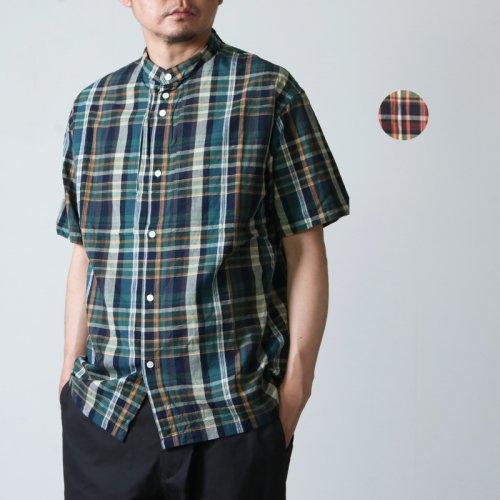 nisica (ニシカ) 半袖チェックバンドカラーシャツ