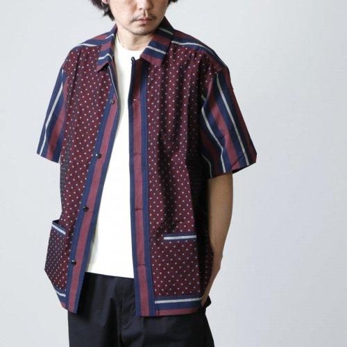 norbit (ノービット) Regimental stripe × Fine pattern panel Shirt / レジメンタルストライプ×ファインパターンパネルシャツ