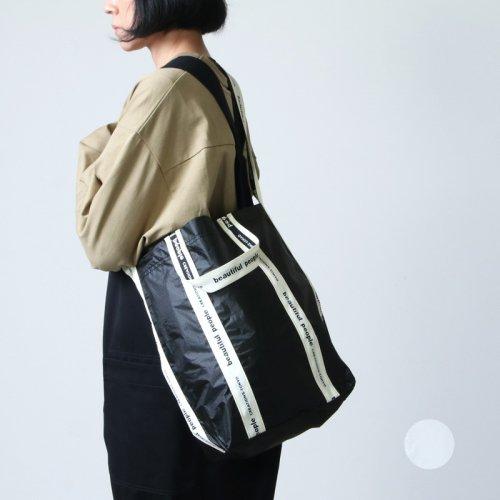 beautiful people (ビューティフルピープル) sail cloth logo tape shoulder bag  white-black / セイルクロスロゴテープショルダーバッグ
