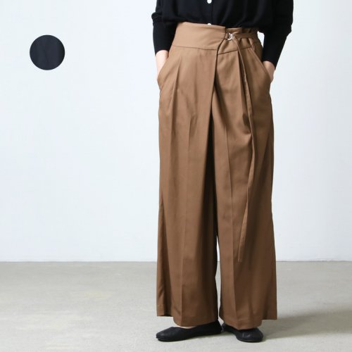 08sircus (ゼロエイトサーカス) Cotton tricotine wide wrap pants / コットントリコット ワイドラップパンツ