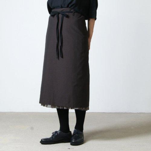 beautiful people (ビューティフルピープル) shadow check apron pleated skirt / シャドウチェックアプロンプリンテッドスカート