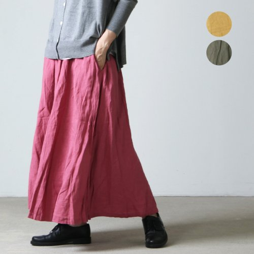 ICHI Antiquites (イチアンティークス) リネンワッシャーギャザースカート