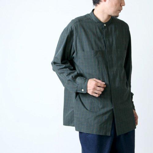 unfil (アンフィル) washed brushed cotton band colloar shirt / ウォッシュドブラッシュコットンバンドカラーシャツ