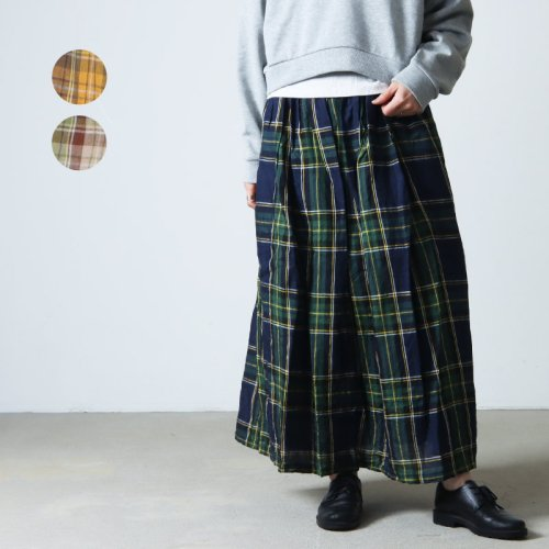 ICHI Antiquites (イチアンティークス) リネンタータンチェックギャザースカート