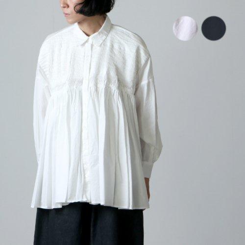 mizuiro ind (ミズイロインド) pintuck embroidery wide shirt / ピンタックエンブロイダリーワイドシャツ