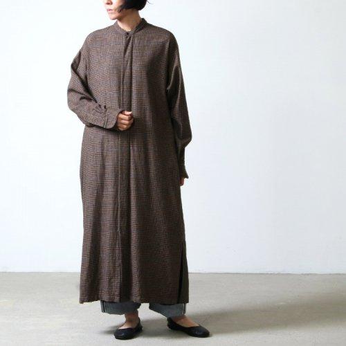 unfil (アンフィル) geelong rambs flannel band collar dress / ジーロンラムズフランネルバンドカラードレス