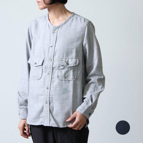and wander (アンドワンダー) thermonel collarless shirt / サーモネルカラーレスシャツ