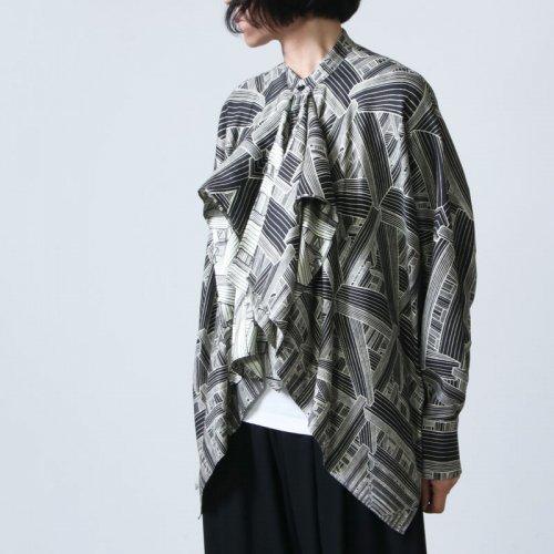 beautiful people (ビューティフルピープル) geometric satinflare blouse / ジオメトリックサテンフレアブラウス